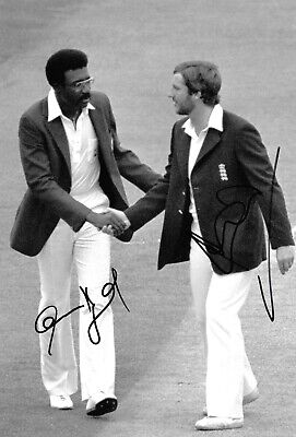 clive lloyd ian botham TEST CAPTAINS shaking hands 1980 signed 12x8 photo