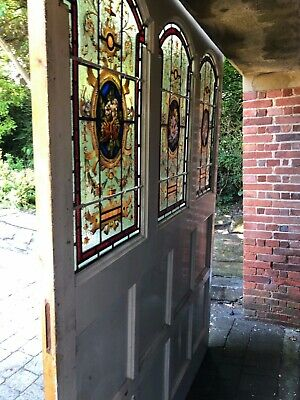 Stained Glass Doors Double Front Bespoke Unique Leaded