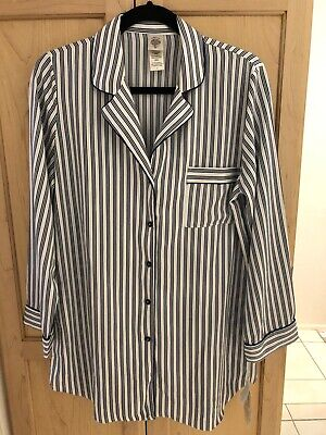 NWT In Bloom Silky Polyester Night Shirt Blue White Stripe S/P