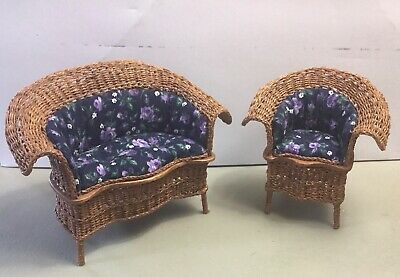 "Wicker Set Hand Made 2 Pieces Very Nice 1"" Inch Scale"