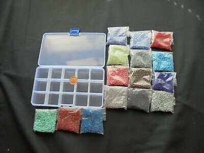 job lot of 300 grams size 8 mixed coloured glass seed beads & storage box
