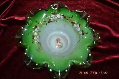 VICTORIAN BRIDES BASKET BOWL Green w/hand painted flowers and portrait on bottom