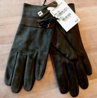 NWT Nordstrom Women's Gloves sz S Suede Leather Gray and Black New
