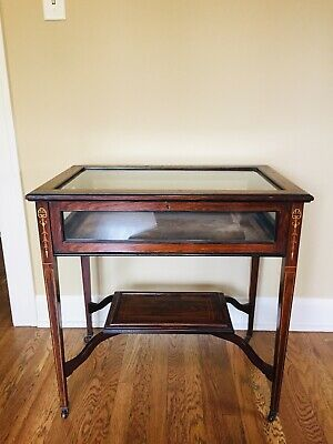 Antique rosewood vitrine display glass table victorian Edwardian