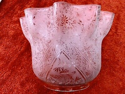 Superb Victorian  Acid Etched Floral / Birds Pattern  Oil Lamp Shade