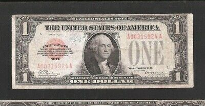 Solid A Block 1928 Red Seal Us Note $1, No Pinholes Or Tears