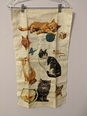 Vintage Kittens Playing Hanging Linen Tea Towel NOS