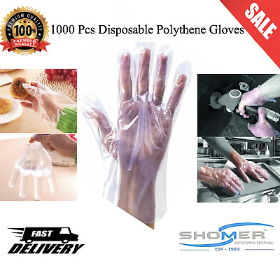 1000 x Polythene Disposable Plastic Gloves Catering Food Mechanics Hairdressing