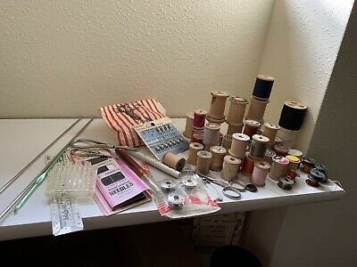 Lot of Vintage Wood Sewing Spools & Thread Buttons & Accessories