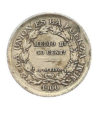 Bolivia 1900 MM fifty 50 Cents *1850