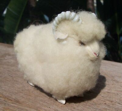 """NATURAL WOOL SHEEP Tiny Ram 2 1/4"""" Tall WILTSHIRE Horned LOVELY Artsy"""
