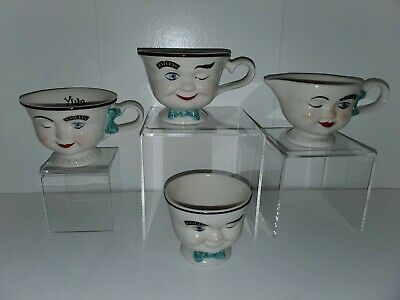 Vintage Baileys Set of His and Hers Winking Face Mug Cups Sugar & Creamer (A9)