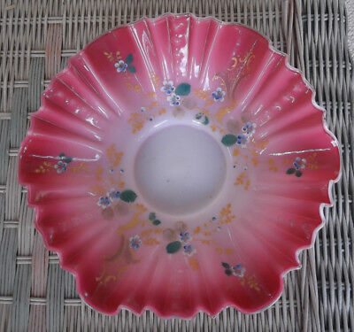"""Cranberry & White Glass Bride's Bowl with Enameled Floral Design Signed """"WEBB"""""""