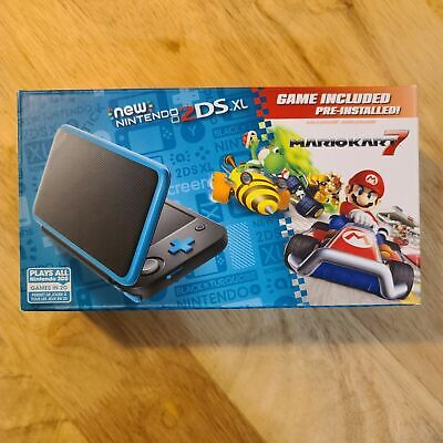 Nintendo 2Ds Xl - Black + Turquoise System W/ Mario Kart 7 Pre-Installed! New!