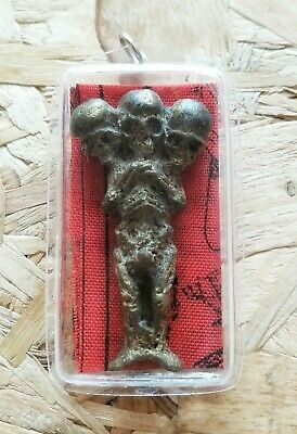 Kuman Thong 3 Heads Thai Amulet Voodoo Haunted Doll Magic Wizard Lucky Wealthy