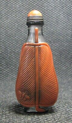 Chinese Glass Delicate Carve Palm-leaf Fan Design Snuff Bottle