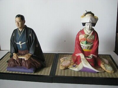 HAKATA MIMASU BRIDE and GROOM~WEDDING DOLLS JAPAN~ RARE PAIR OF Vintage
