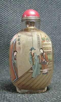 Chinese Delicate Glass Inside-drawing Character Story Snuff Bottle+-----