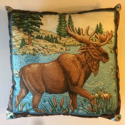 New 15 X 15 Moose In Water Animal Theme Pillow - Complete Cotton Pillow