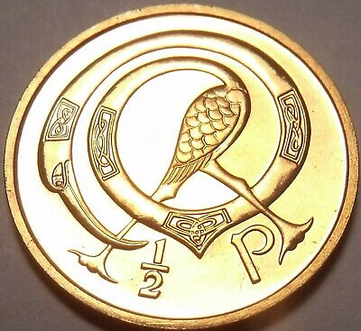 Ireland Half Penny, 1971 Rare Proof~50K Minted~Stylized Bird~Cologne Cathedral