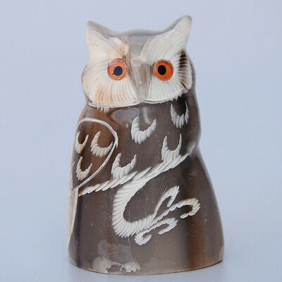 Collectable China Old 0x H0rn Hand-Carved Lovely Owl Delicate Decorate Statue