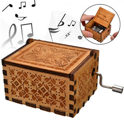 "UK.Wooden Engraved Music Box Birthday Gift ""Can't Help Falling in Love"" Case↙"