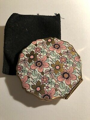 Vintage Stratton Compact Powder Case Retro Floral Flowers Made In England