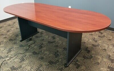 Conference Room Table & 6 Chairs - Lacquered Cherry Wood Finish