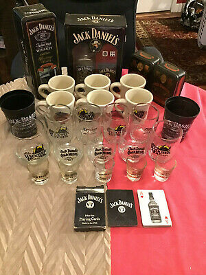 Lot Of Jack Daniels Glasses, Mugs, Playing Cards, Tins and More