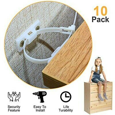 Anti Tip Strap Furniture Brackets Baby Child Kids Safety Wall Straps Pack Of 10x