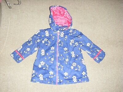 Girls Blue Mix Fully Lined  Hooded Coat Age 2-3 Years from Marks and Spencer