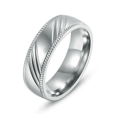 6MM 316L Stainless Steel Bands Round Fashion Women/Men Rings Engagement Wedding
