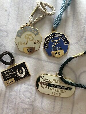 4 Metal Members Badge. 2 Plumpton 2 Fontwell