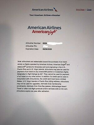 American Airlines Travel Voucher - RT in USA PR and US VI