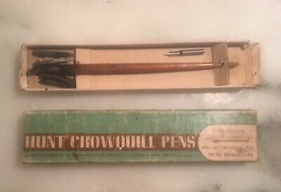 Vintage Hunt Crowquill Penholder with 7 Nibs Vintage Box Used Condition
