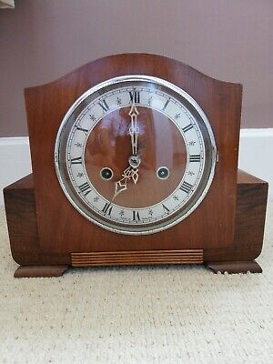 Vintage 1940s Enfield Mantel Clock- Key & Pendulum. Over-wound Otherwise lovely