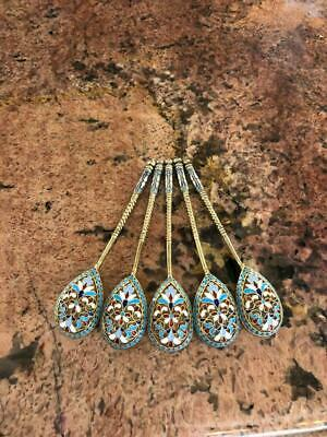 Fine Antique Russian Imperial Enamel Silver Gillized 5 Spoons