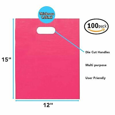 """100 Pack 12"""" x 15"""" x 1.25mil Thick - Pink Merchandise Plastic Glossy Retail Bags"""