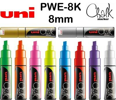 Uni Chalk Marker Pen PWE-8K 8mm Tip *Buy 3, Get 1 FREE* Chalkboard Glass Windows