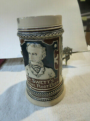 Antique Dr Swetts Original Rootbeer Mug Embossed Stoneware Brown Green
