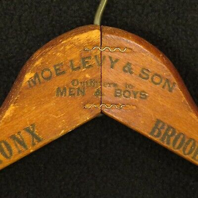 Antique MOE LEVY & SONS Advertising Wooden Clothes Hanger Manhattan Bronx COOL!!