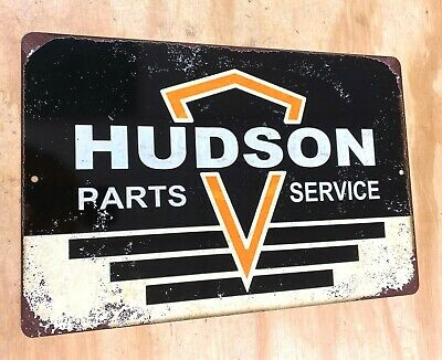 "Hudson Parts & Service Rusted Style Aluminum Metal Sign 12""x18"""