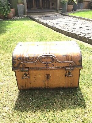 Victorian Tin Trunk in Original Painted Wood Effect With Registration Label