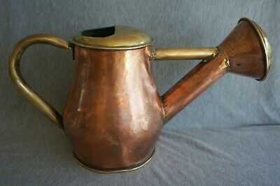 COPPER and BRASS WATERING CAN - Hand Hammered - Copper Rivets - ANTIQUE