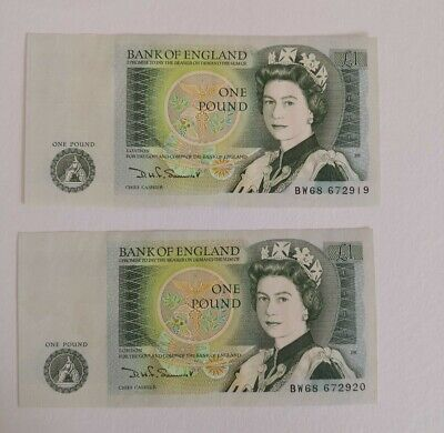 1981 2 x One Pound £1 Banknotes  Consecutive Notes B341 (9a)