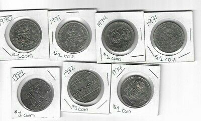 7x Canada $1 One Nickel Dollar 1970 1971 1974 1982 1984 Cartier  ,  BC Manitoba