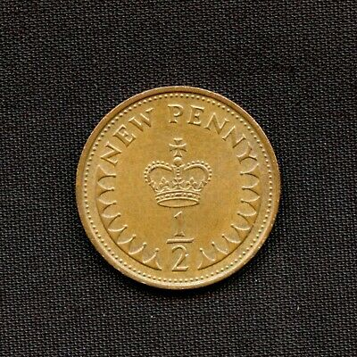 Vintage 1971 Half New Pence Coin Queen Elizabeth II Great Britain UK