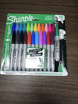 Sharpie Permanent Markers, Fine Point, Aaron Rodgers, Assorted Colors, 24-Count