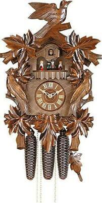 German Cuckoo Clock 8-Day-Movement Carved-Style 20.00 Inch - Authentic Black For