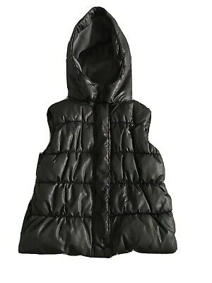 Girls Black Gilet With Hood Age 3-4